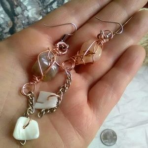 Jewelry - Handmade Stone & Chain Earrings, Beach Jewelry